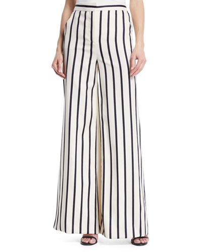 Xena Striped Wide-Leg Cotton Pants