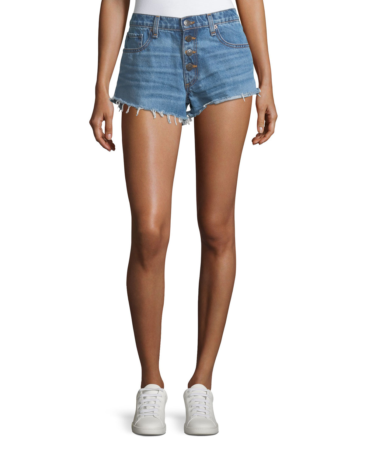 Debbie Denim Shorts w/ Frayed Hem