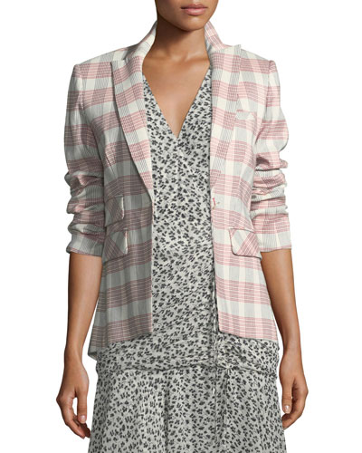 Khan One-Button Check Blazer