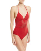 JETS by Jessika Allen Parallels Striped-Mesh Solid One-Piece