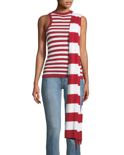 Striped Tank Top w/ Asymmetrical Scarf Detail