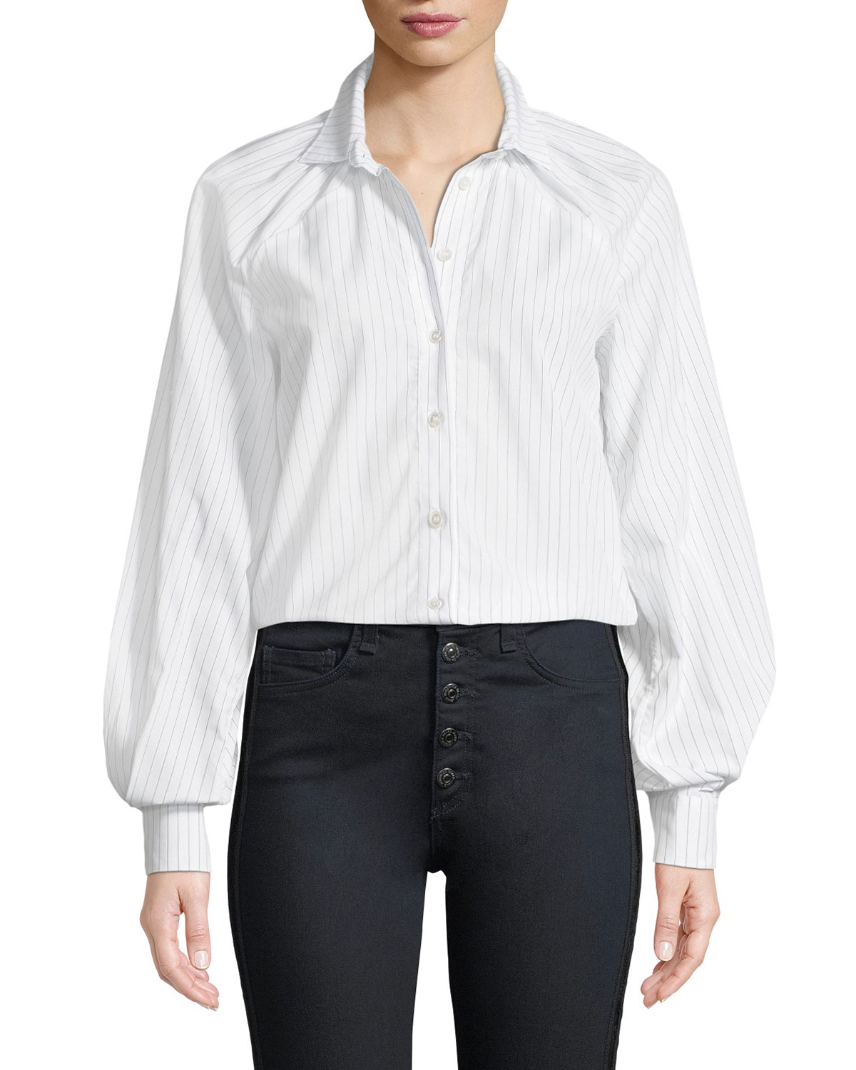 VICTORIA / TOMAS PINSTRIPE LONG-SLEEVE BUTTON-DOWN BLOUSE WITH GATHERED SLEEVES