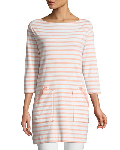 Striped Cotton Interlock 2-Pocket Tunic, Plus Size