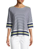 Border Striped 3/4-Sleeve Tunic