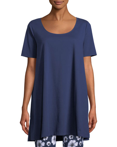 Short-Sleeve Scoop-Neck Tunic