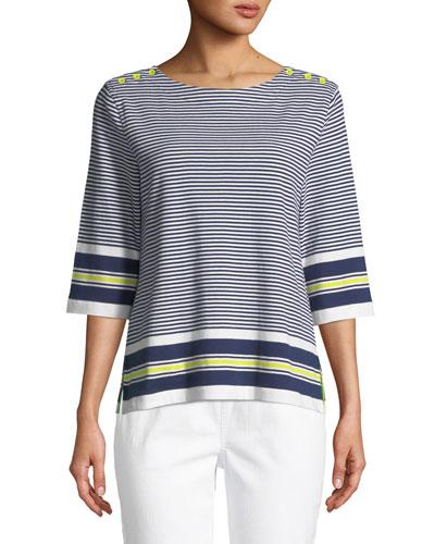 Border Striped 3/4-Sleeve Tunic, Plus Size
