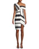 Asymmetric Stripe Sheath Cocktail Dress