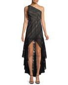 Asymmetric High-Low Lace Cocktail Dress