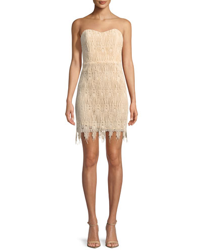 Fringe-Trim Strapless Mini Cocktail Dress