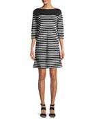 Colorblock Striped 3/4-Sleeve Dress, Plus Size
