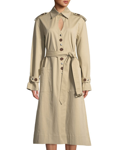 Keyhole Mixed-Button Trench Coat