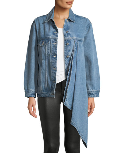 Denim Jacket w/ Asymmetric Draped Detail
