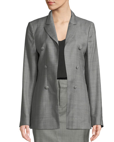 Blare Notched-Lapel Double-Breasted Check Virgin Wool Blazer