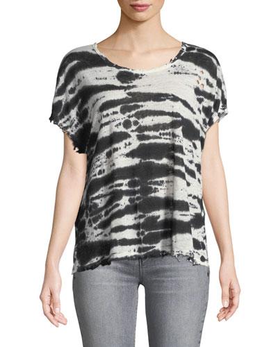 Dawm Round-Neck Short-Sleeve Tie-Dye Linen Top