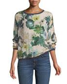 Crewneck Floral-Print Silk Georgette Sweatshirt