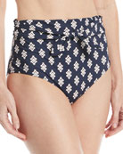 Sash-Tie High-Waist Printed Swim Bottoms