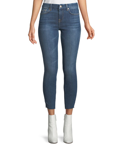Mid-Rise Ankle Skinny Leg Jeans with Reverse Side Panel