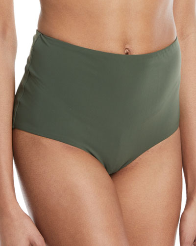 Marina High-Waist Solid Swim Bottoms