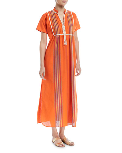 Macrame Short-Sleeve Striped Long Caftan Coverup