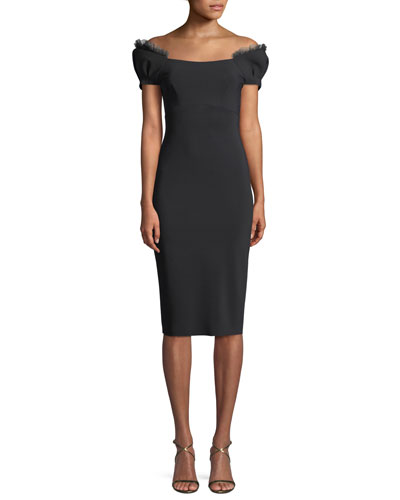 Bisou Illusion Short-Sleeve Cocktail Dress
