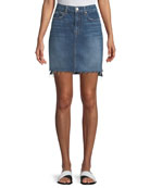 Side-Panel A-Line Denim Skirt w/ Raw-Edge Hem