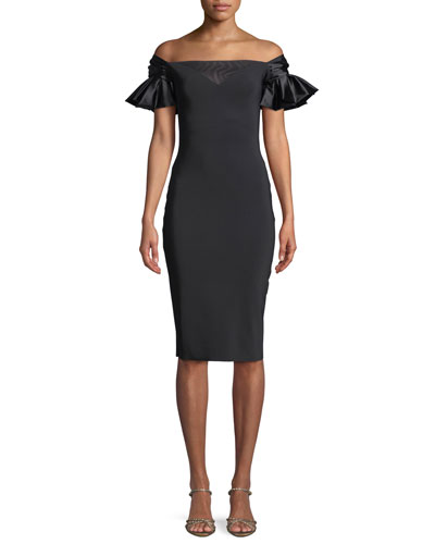 Nicolas Sweetheart Illusion Ruffle-Sleeve Cocktail Dress