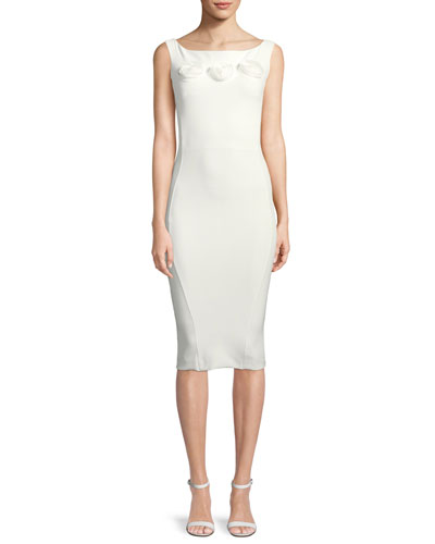Sissel 3D Rose Bateau-Neck Cocktail Dress