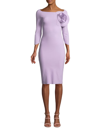 Nyoko 3/4-Sleeve Cocktail Dress w/ 3D Rose