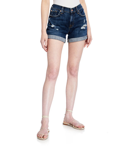 Mid-Rise Rolled-Cuff Distressed Denim Shorts