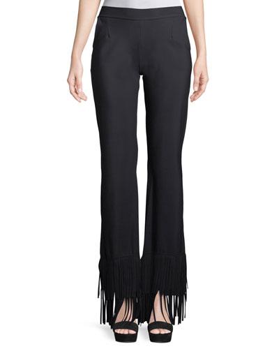 Tonia Wide-Leg Pants w/ Fringe
