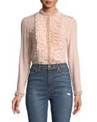 Arminda Button-Down Ruffled Chiffon Blouse w/ Pearlescent Trim, Blush