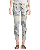 The Ankle Skinny Floral-Print Jeans