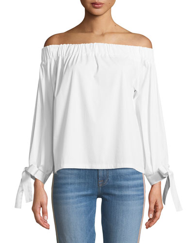 Off-the-Shoulder Tie-Cuff Poplin Top