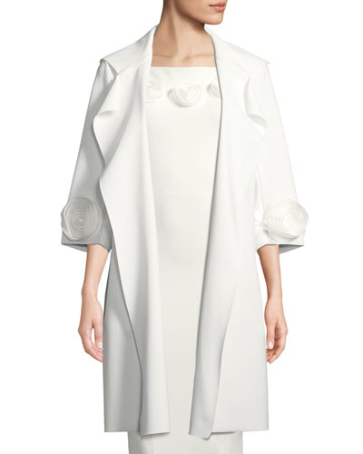 Margit Open-Front 3D Rose Topper Coat
