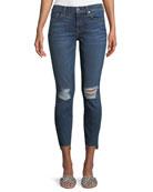 Midnight-Desert Distressed Skinny-Leg Ankle Step-Hem Jeans