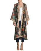 Lynn Long Side-Slit Floral-Print Silk Kimono Jacket
