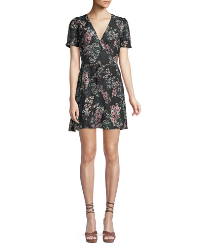 Dezzi V-Neck Short-Sleeve Floral-Print Short Dress