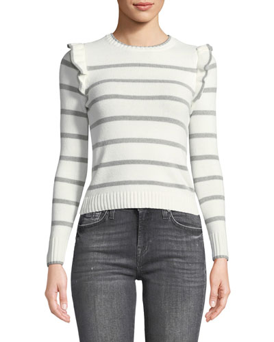 Bryant Crewneck Striped Sweater with Ruffled Trim
