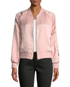 Donya Zip-Front Embroidered Bomber Jacket