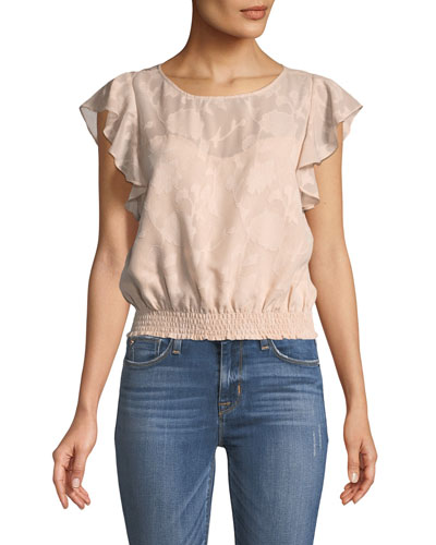 Banyan Round-Neck Jacquard Top