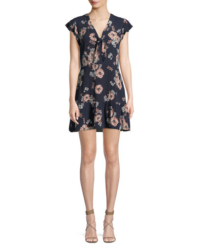 Dalma V-Neck Sleeveless Floral-Print Dress