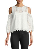 Ally Cold-Shoulder Crochet Lace Top