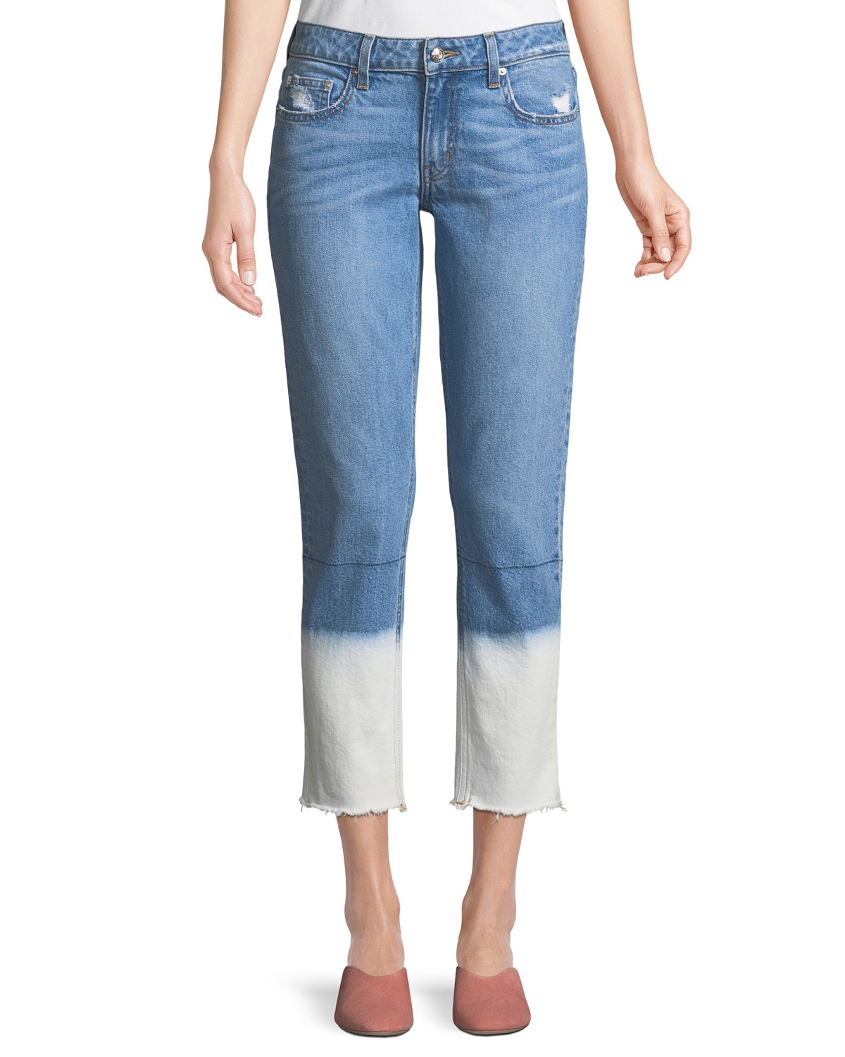 Mila Mid-Rise Straight-Leg Ankle Jeans with Bleached Hem
