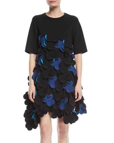 Short-Sleeve Scalloped Dress w/ Asymmetric Hem