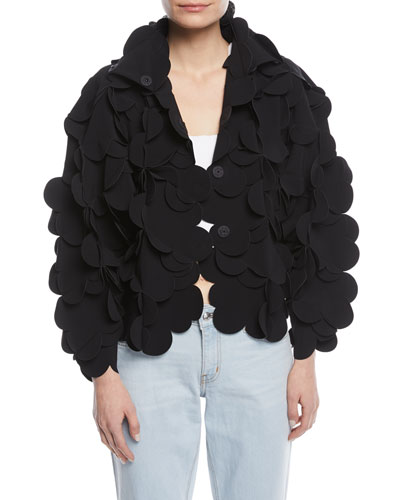 3-D Scalloped Snap-Front Jacket
