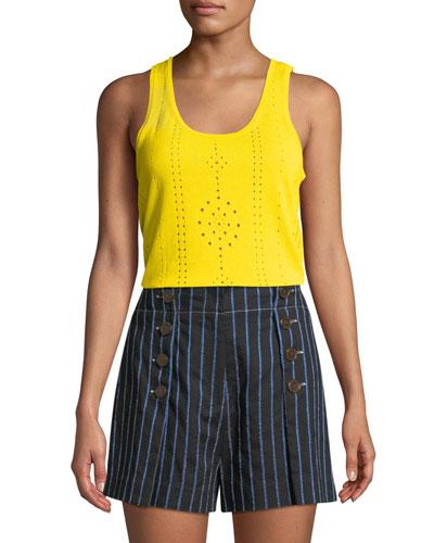 Scoop-Neck Sleeveless Pointelle Knit Cotton Tank