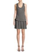 Striped Jersey Scoop-Neck Mini Dress
