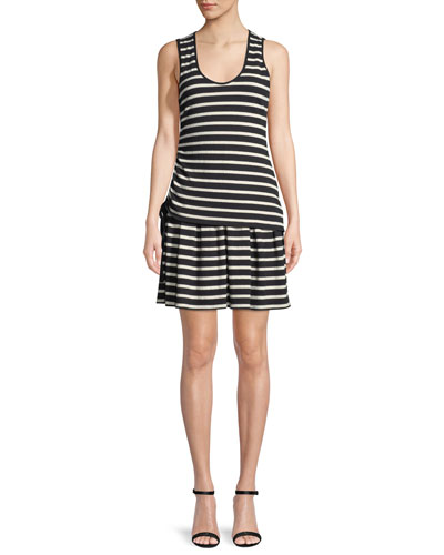 Striped Jersey Scoop-Neck Mini Dress