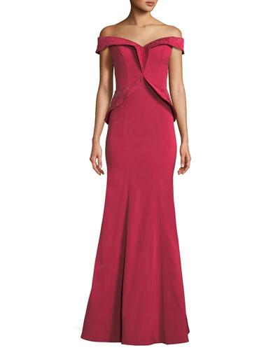 Off-the-Shoulder Framed Peplum Gown