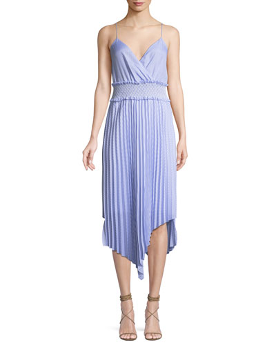 Kinsley Shirting Stripe Asymmetric Midi Dress
